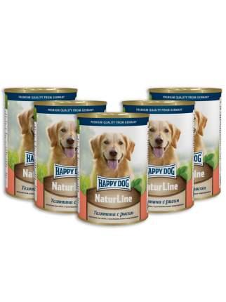 Консервы для собак Happy Dog NaturLine, телятина с рисом, 5шт по 400г