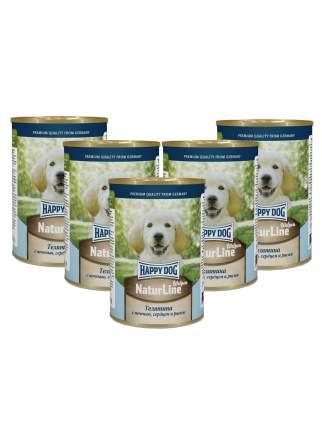Консервы для щенков Happy Dog NaturLine, телятина, сердце, печень, рис, 5шт по 400г