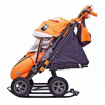 Санки-коляска SNOW GALAXY City-2-1 Панда на оранжевом