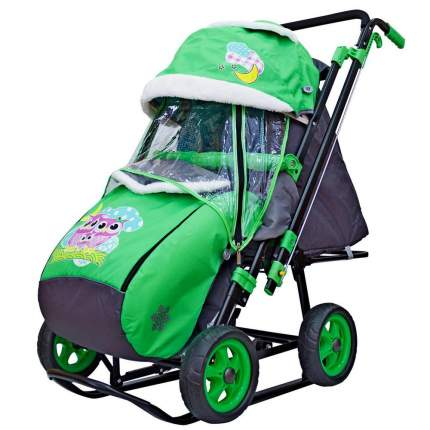 Санки-коляска SNOW GALAXY City-2 Совушки на зелёном на больших колёсах Ева+сумка+варежки