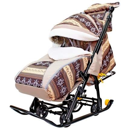 Санки-коляска Galaxy Snow Luxe Скандинавия коричневая, сумка + муфта