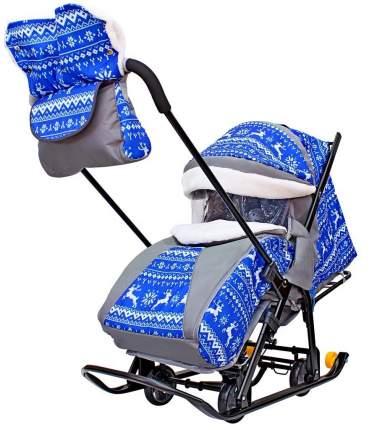 Санки-коляска Galaxy Snow Luxe Зимняя ночь Олени, сумка + муфта