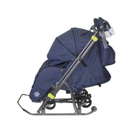 Санки-коляска SNOW GALAXY Kids-3-3-С Джинс тёмно-синий на больших колесах+сумка+варежки