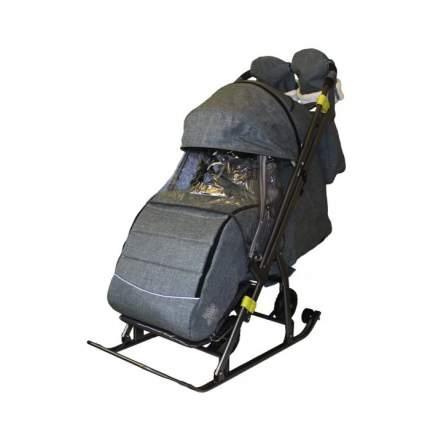 Санки-коляска SNOW GALAXY Kids-3-3-С Джинс серый на больших колесах+сумка+варежки