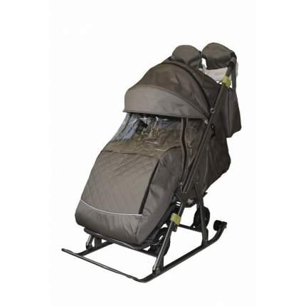 Санки-коляска SNOW GALAXY Kids-3-2-Т Бронза крупный ромб на больших колесах+сумка+варежки