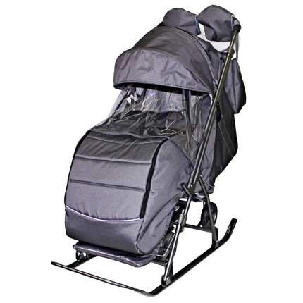Санки-коляска SNOW GALAXY Kids-3-2-С Серебро на больших колесах+сумка+варежки