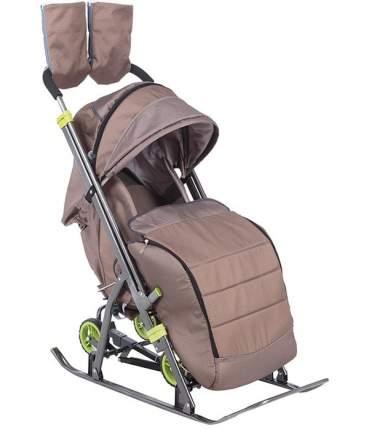 Санки-коляска SNOW GALAXY Kids-3-2-С Бронза на больших колесах+сумка+варежки