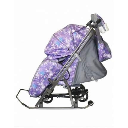 Санки-коляска Galaxy Snow Kids-3-1 Елки на фиолетовом, сумка + варежки