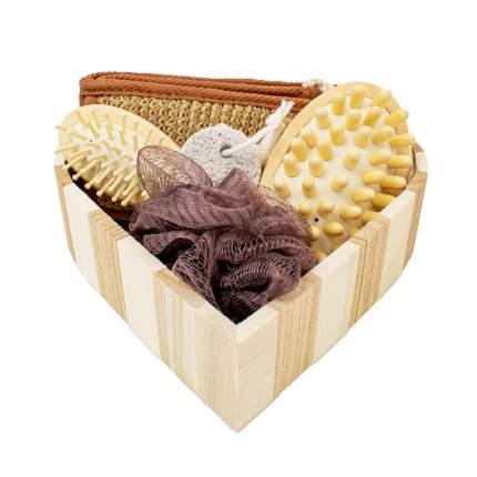 Набор подарочный для душа VenusShape Сердце цвет светлое полосатое дерево 21х20х5,5 см