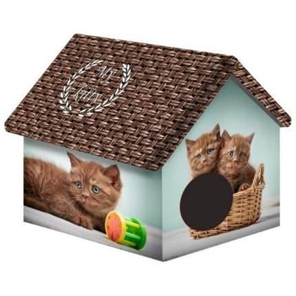 Домик для кошек и собак PerseiLine Дизайн Шоколадные котята, разноцветный, 33x33x40см