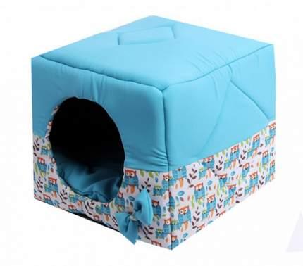Домик для кошек и собак Lion Кубик, голубой, белый, 45x45x45см