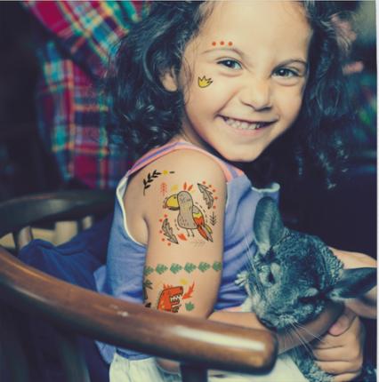 """Детские татуировки-переводилки VoiceBook Tattoo """"Динозавр и Сова"""""""