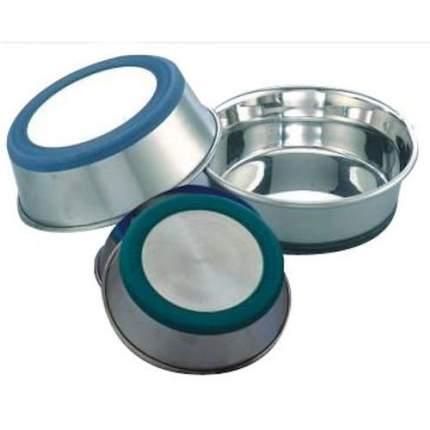 Одинарная миска для кошек и собак Ankur, утяжеленное дно, металл, резина, серебристый 0.9л