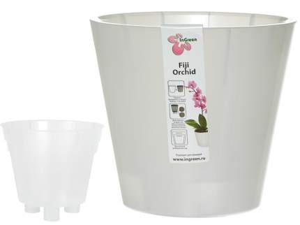 Горшок для цветов INGREEN Фиджи Орхид 16см 1,6 л белый перламутр