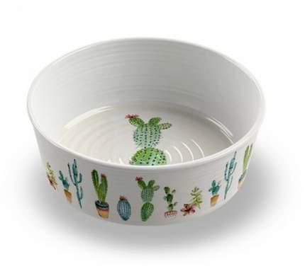 Одинарная миска для собаки TarHong Cactus, меламин, белый с рисунком 0.95 л