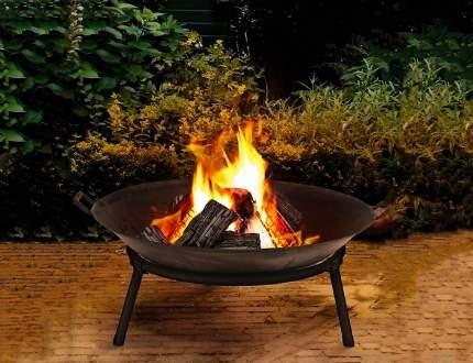 чаша для костра огненная магия с ручками, металл, чёрная, 60 см, арт. X62100190, Интекс