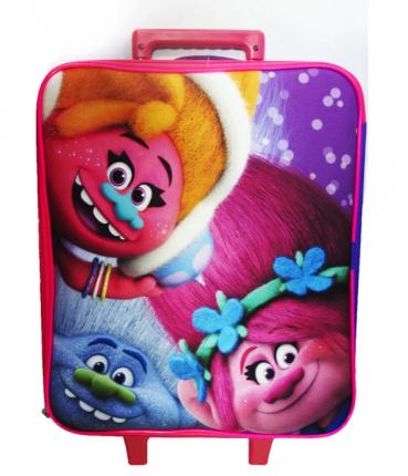 Чемодан детский на колесах Centrum Тролли, 37x34x16 см розовый