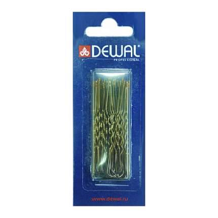 Шпильки Dewal «Волна», коричневые, 60 мм, 24 шт