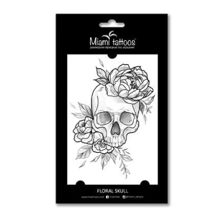 Переводные тату Miami Tattoos Floral Skull