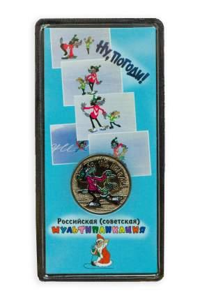 Монета 25 рублей цветная в блистере Ну, погоди! Российская мультипликация, 2018 г. в. UNC