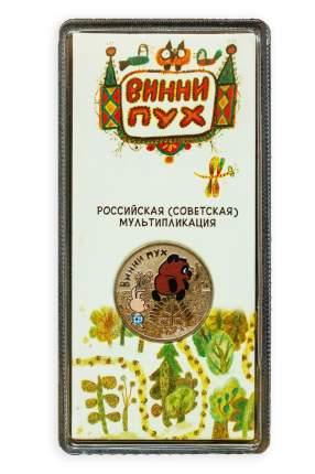 Монета 25 рублей цветная (в блистере). Винни Пух Российская мультипликация 2017 г. в. UNC