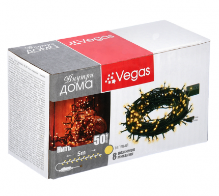 Новогодняя электрическая гирлянда Vegas Нить 55059 5 м желтый