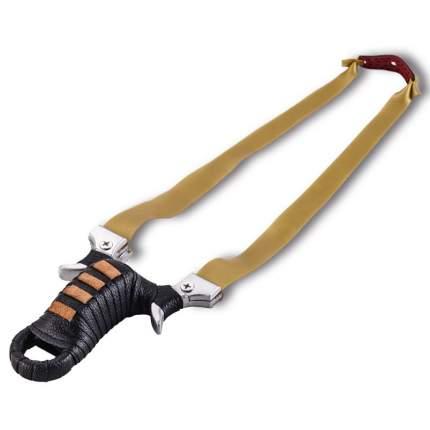 Рогатка Kamukamu игрушечная с упором для пальцев 701235 черная, коричневая кожаная обмотка