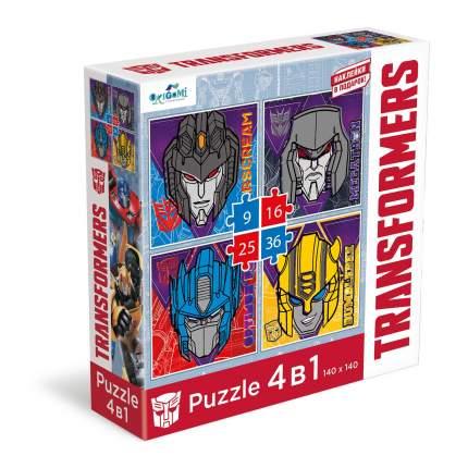 Пазл 4 в 1 Transformers. Портреты главных героев + наклейки