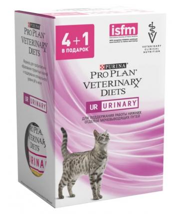 Влажный корм для кошек Pro Plan Veterinary Diets UR St/Ox с курицей 3шт, 2шт с лососем 85г