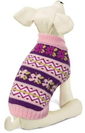 Свитер для собак Triol Цветочки, женский, фиолетовый, розовый, S, длина спины 25 см