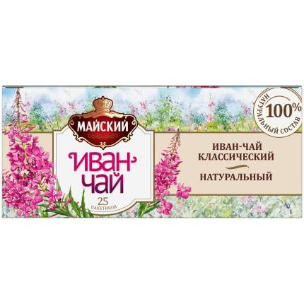 Чай Майский Иван-чай классический натуральный травяной 25 пакетиков
