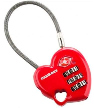 Замок Munkees Combination Lock - Heart (3606) красный д.80мм ш.37мм в.14мм