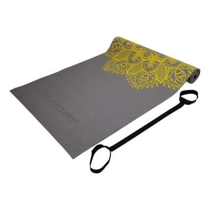 Коврик для йоги из ПВХ Tunturi, 4 мм, с эластичным шнуром, антрацитовый с принтом