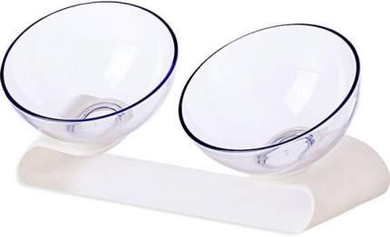 Двойная миска для кошек Jordan&Judy  Pet Feeding Double-Bowl, белый, прозрачный, 0.48 л