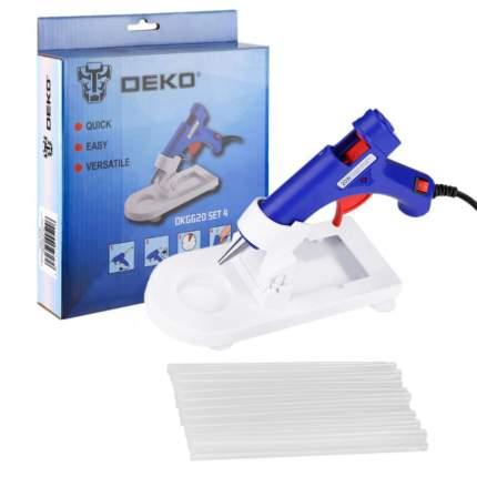Термопистолет клеевой DEKO DKGG20 20Вт SET4 с подставкой + набор стержней (20 шт, 7 мм)