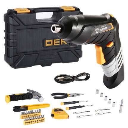 Аккумуляторная отвертка DEKO DKS4FU-Li в кейсе  + набор инструментов 36 предметов