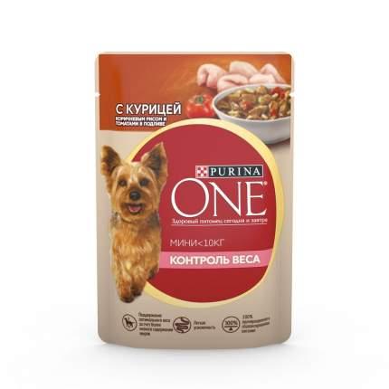Влажный корм для собак Purina One Контроль веса , курица, рис, 85г
