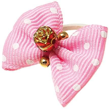 Заколка для домашнего питомца V.I.Pet розовый с белым горошком, 2 штуки (золотая роза)