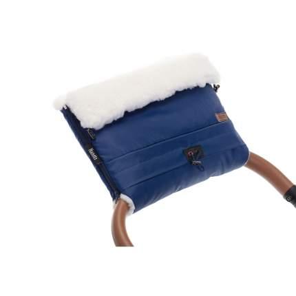 Муфта меховая для коляски Nuovita Alaska Bianco Blu scuro/темно-синий
