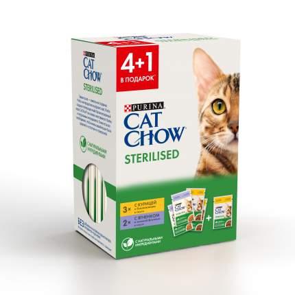 Влажный корм для кошек Cat Chow 4+1: курица, баклажаны, 3х85г + ягненок, фасоль, 2х85г