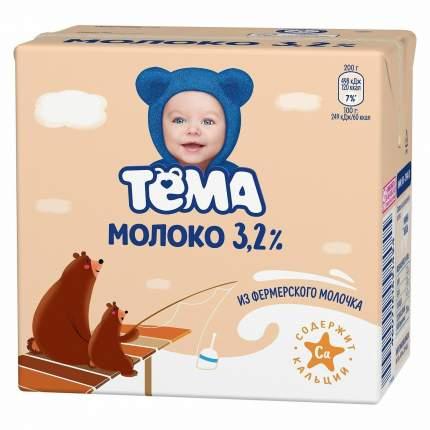 Молоко тема ультрапастер бзмж жир. 3.2 % 0.5 л тр юнимилк россия