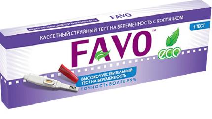 Высокочувствительный тест-кассета на беременность FAVO струйная с колпачком в блистере