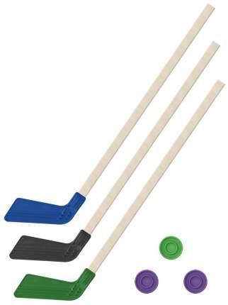 Хоккейный набор 3 в 1 Клюшки хоккейных 80 см (синяя, черная, зеленая) + 3 шайбы