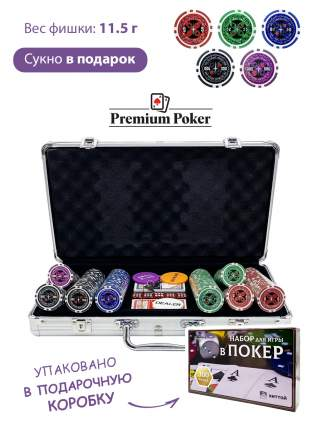 Покерный набор Ultimate, 300 фишек 11.5 г с номиналом в чемодане, сукно