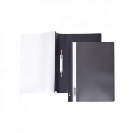 Папка-Скоросшиватель Hatber А4 Пластиковая с перфорацией Прозрачный верх Черная 140/180мкм