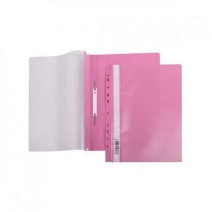 Папка-Скоросшиватель Hatber А4 Пластиковая с перфорацией Розовая