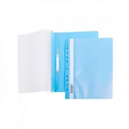 Папка-Скоросшиватель Hatber А4 Пластиковая с перфорацией Голубая