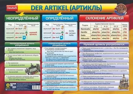 Учебный плакат. Немецкий язык. Артикль. Склонение артиклей: Формат А2
