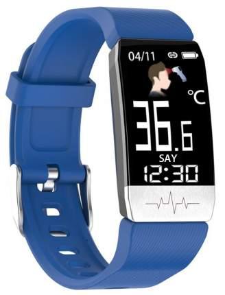 Фитнес браслет Elband T1S c измерением давления и пульса с синим ремешком силикон (Черный)