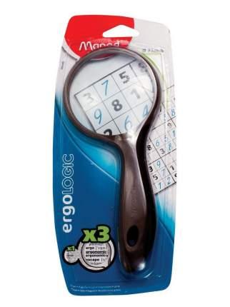 Лупа MAPED ERGOLOGIC 3х- кратная эргономичная обрезиненная ручка 75 мм серый